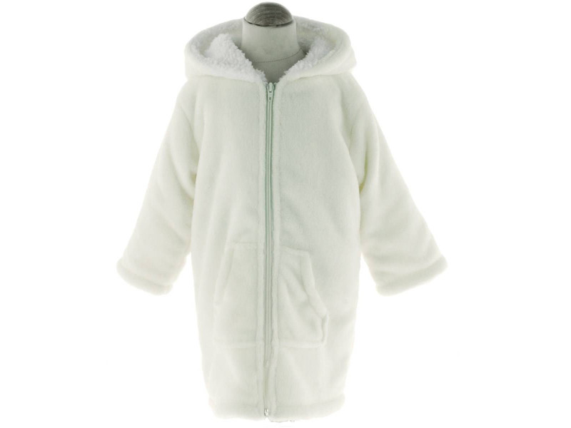 Peignoir/robe de chambre enfant polaire zipper - blanc cassé ...