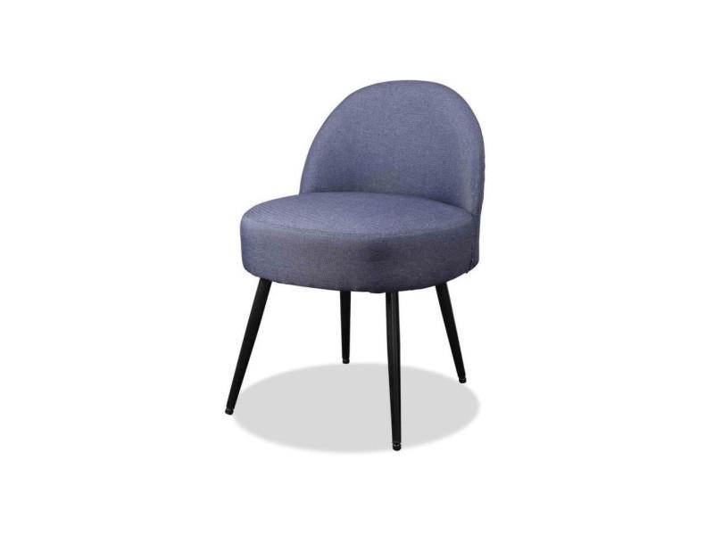 Lilo2 fauteuil pieds métal - tissu gris anthracite - l 47 x p 44 x h 67 cm