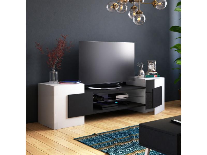 Meuble tv / meuble de salon - charles - 160 cm - blanc mat / noir mat - sans led - style contemporain