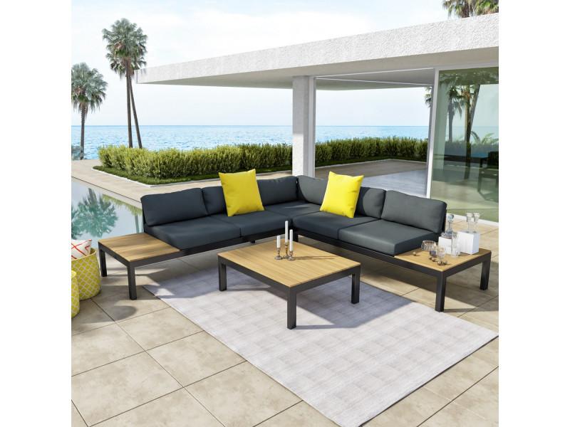 Salon d\'angle de jardin design aluminium couleur gris noir - milano ...