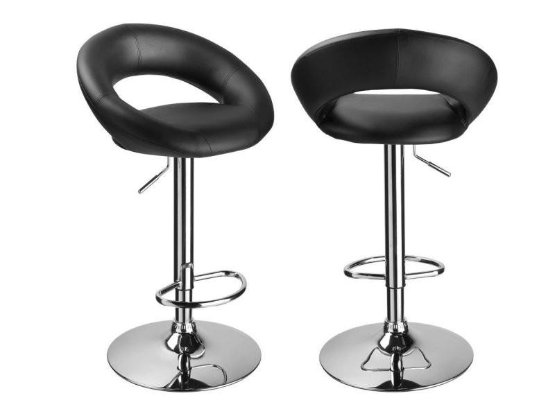 super populaire 8411e 5500a Set de 2 tabourets de bar simili-cuir noir hauteur réglable ...