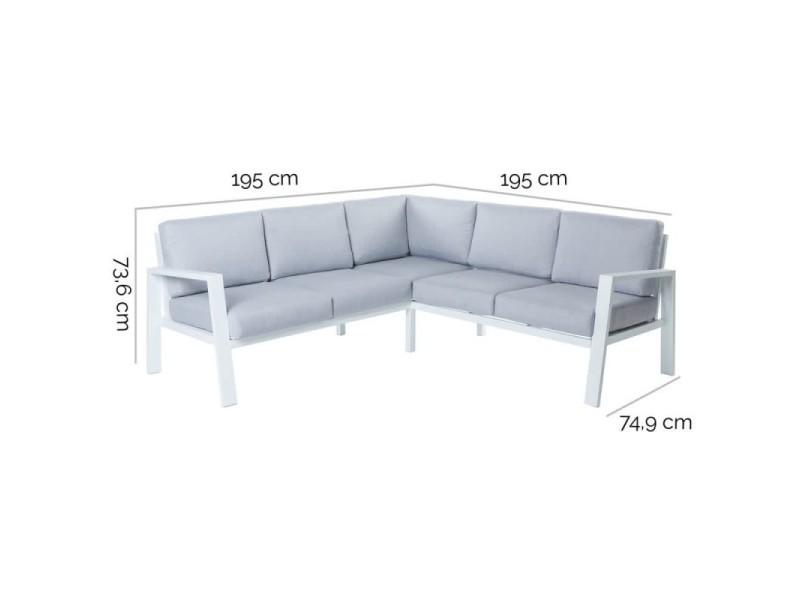 Salon bas de jardin en aluminium blanc et coussins gris ...