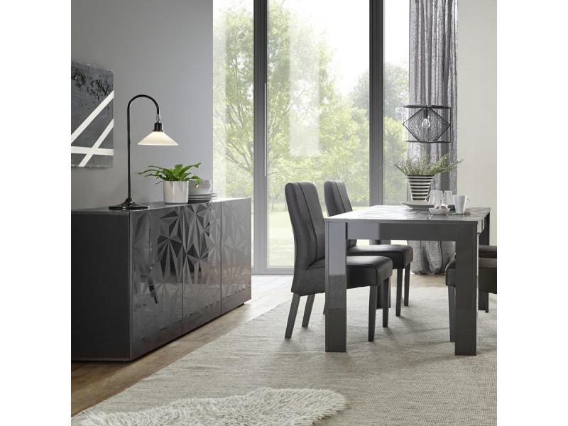 Salle à Manger Gris Laqué Buffet 3 Portes + Table 180 Design Paolo 3