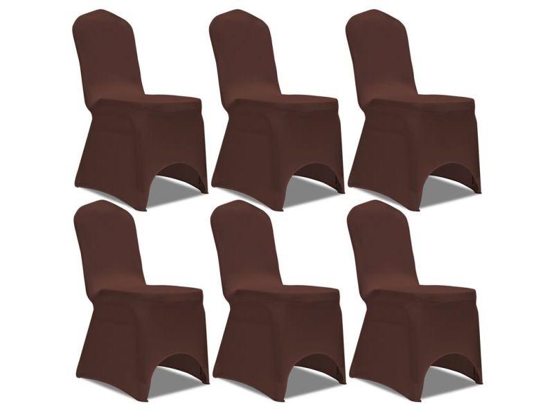 Vidaxl 6 pcs extensible housse chaise 131413 marron de DIHW9E2