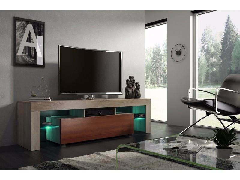 Meuble tv 160 cm chêne et noyer mdf avec led rgb