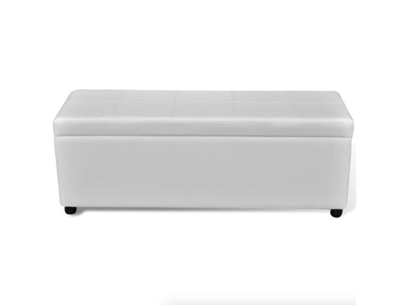 Banquette Banc Coffre De Rangement Blanc 119 Cm Helloshop26 3002001