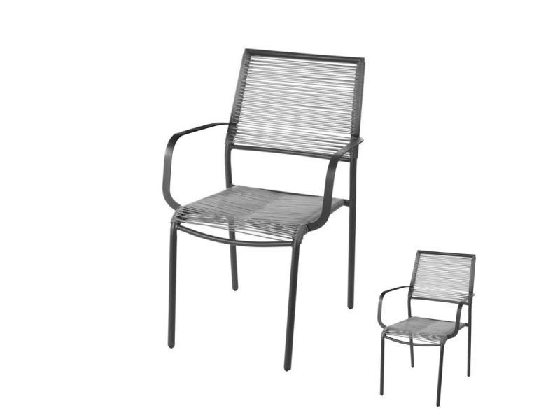 Duo de chaises acier/rotin gris - komodo - l 55 x l 57 x h ...