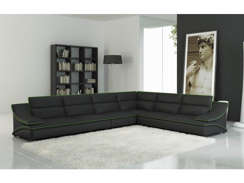 Canapé d'angle cuir design noir et vert roxa-