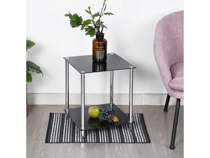 Table d\'appoint bout canapé carré noir verre métal - Vente de ...