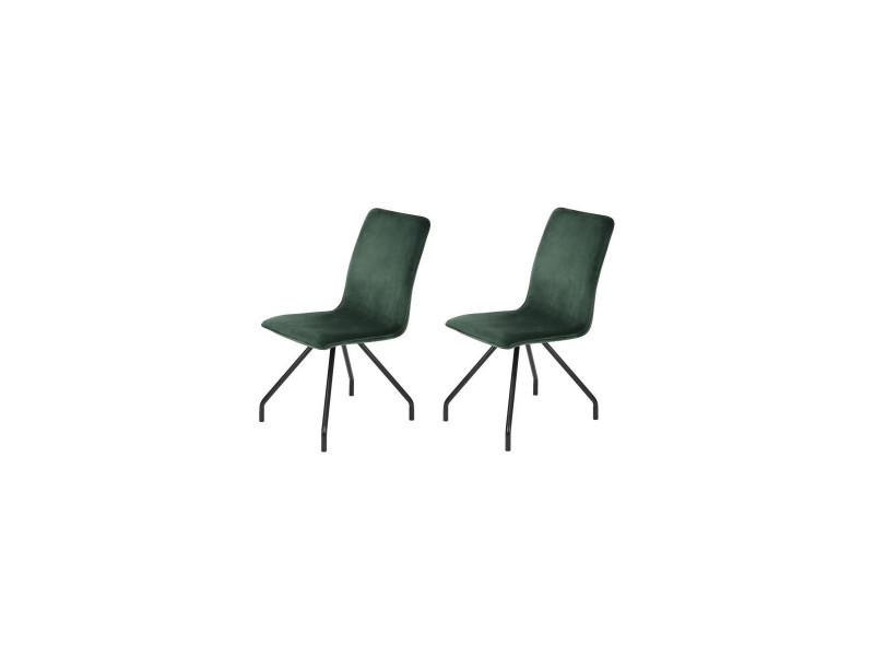 Linnea velvet lot de 2 chaises de salle a manger - métal revetu de velours vert - style contemporain - l 46 x p 58 cm