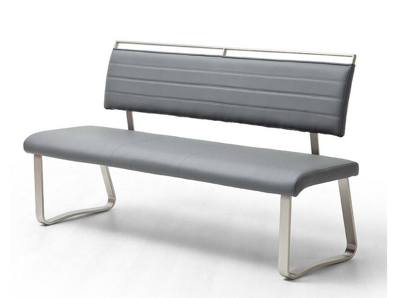 Banc de salle à manger en métal et simili cuir coloris gris - longueur 155 x hauteur 93 x profondeur 59 cm -pegane-