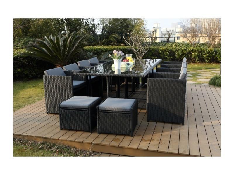Magnifique salon de jardin florida 12 noir/gris : salon encastrable ...