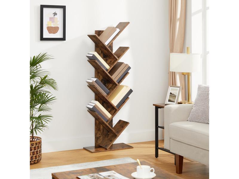 étagère à 8 Niveaux Bibliothèque Style Industriel Meuble