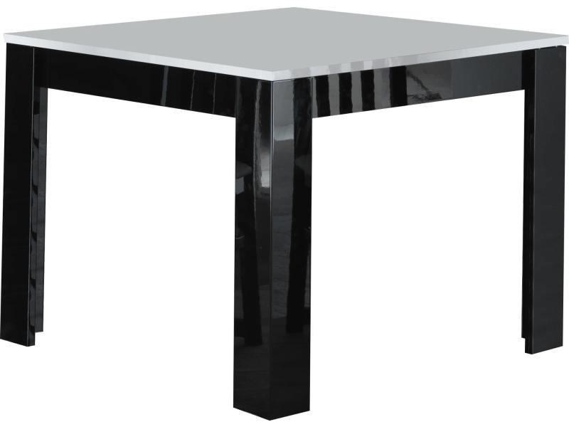 Table A Manger Carree Laquee Brillante Coloris Noir Et Blanc
