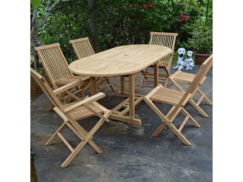 Salon de jardin en teck qualité ecograde séville, 6 places ...