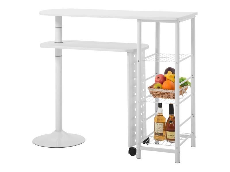Table haute de bar josua mange-debout avec comptoir et plateau mobile en mdf blanc 3 étagères et structure en métal laqué blanc