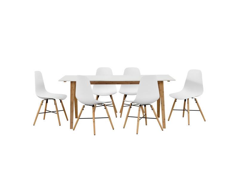 En Casa Table A Manger Blanc Avec 6 Chaises Blanc 180x80 Table