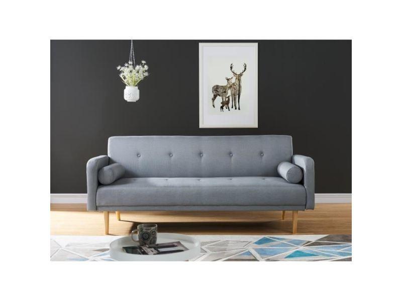 Canape - sofa - divan maddy canapé droit convertible 3 places - tissu gris chiné - vintage - l 195 x p 86 cm