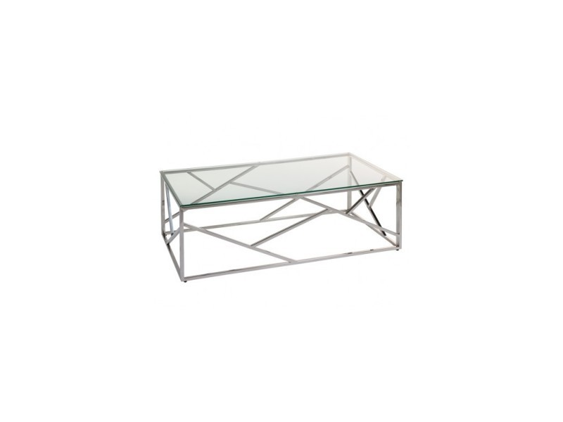 Table basse verre et chrome cristal