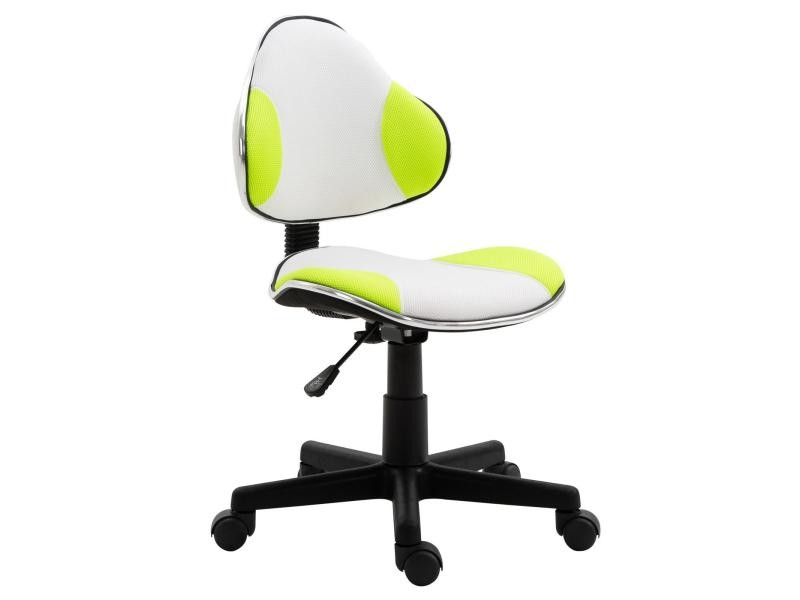 Chaise De Bureau Pour Enfant Osaka Fauteuil Pivotant Avec Hauteur Reglable Revetement En Mesh Blanc Vert