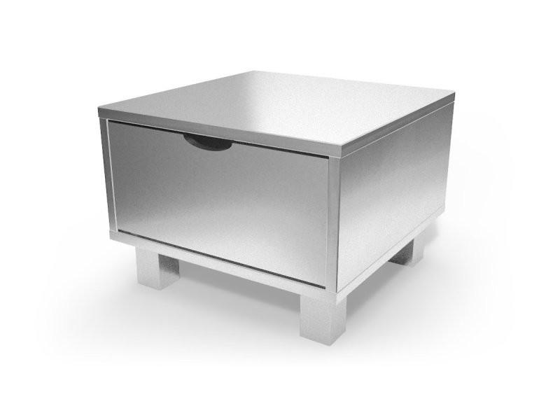 Chevet Cube Tiroir Bois Gris Aluminium Chevcub Ga Vente De
