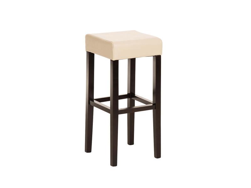 Tabouret de bar en bois avec siège en polyuréthane cappuccino / crème - 80 x 37 x 37 cm -pegane-