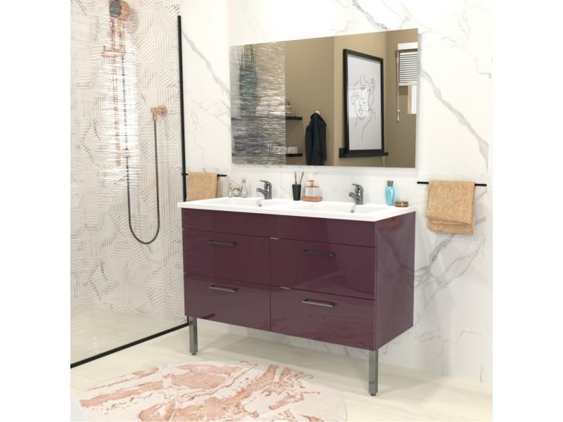 Ensemble Meuble Sous Vasque Vasque Résine 2 Armoires Avec Miroir