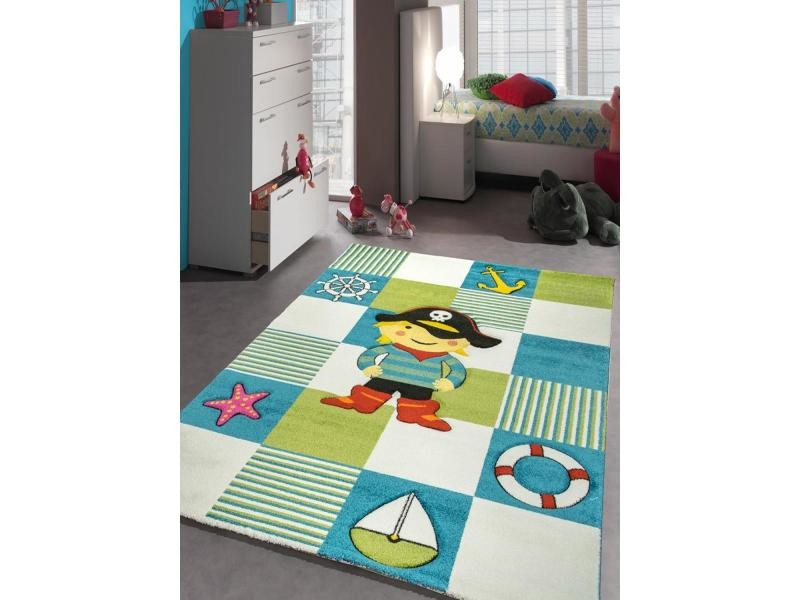 Tapis Pirate Chambre Du0027enfant Le Grand Pirate Bleu, Vert, Blanc 120 X