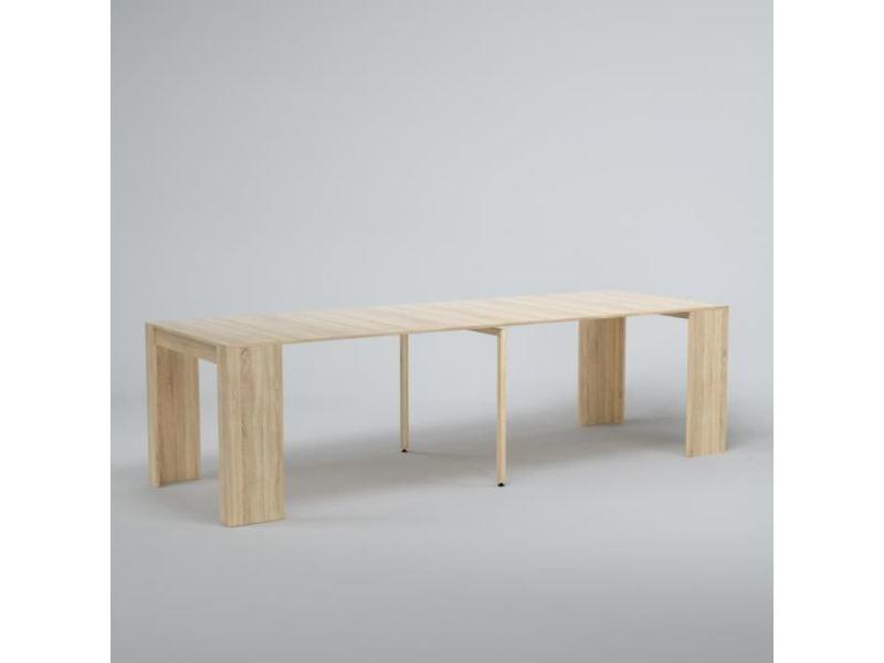 Table console - console extensible goomy console extensible style contemporain - décor chene - l 50 a 270 cm
