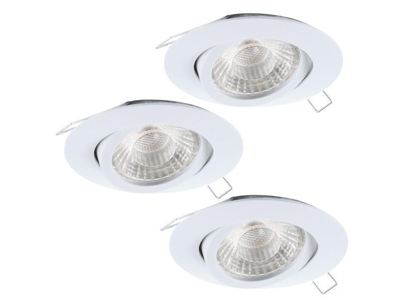 Lot 3 spots led encastrables orientables tedo1 blancs en aluminium