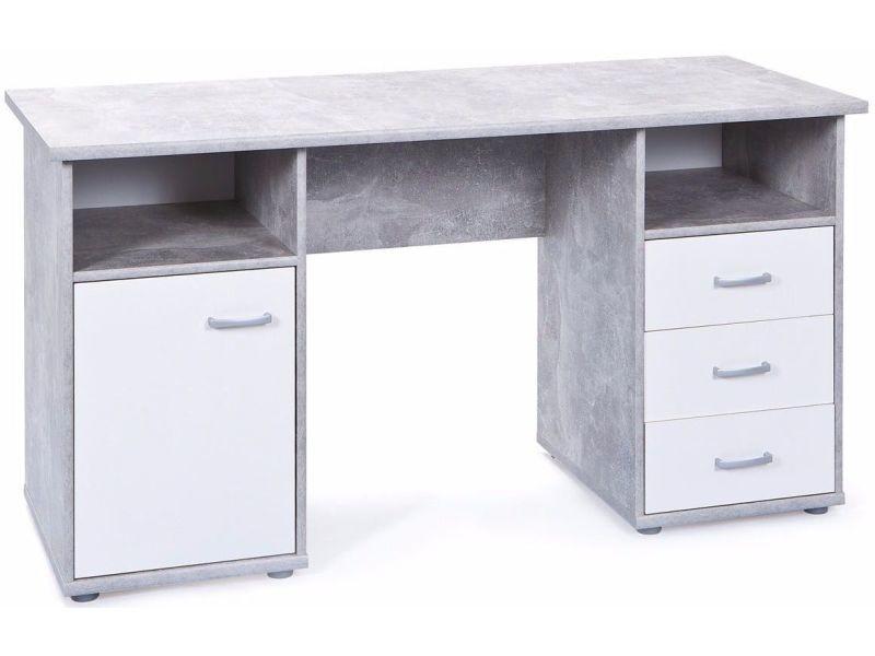 Bureau moderne 148 cm avec 1 porte et 3 tiroirs coloris blanc et gris