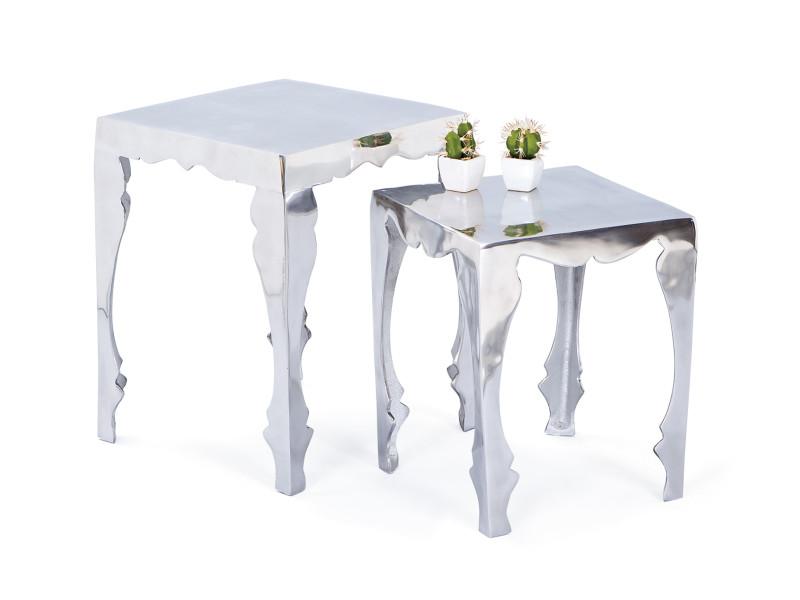 Lot de 2 tables basse carré de salon d´appoint bout de canapé gigogne design alu
