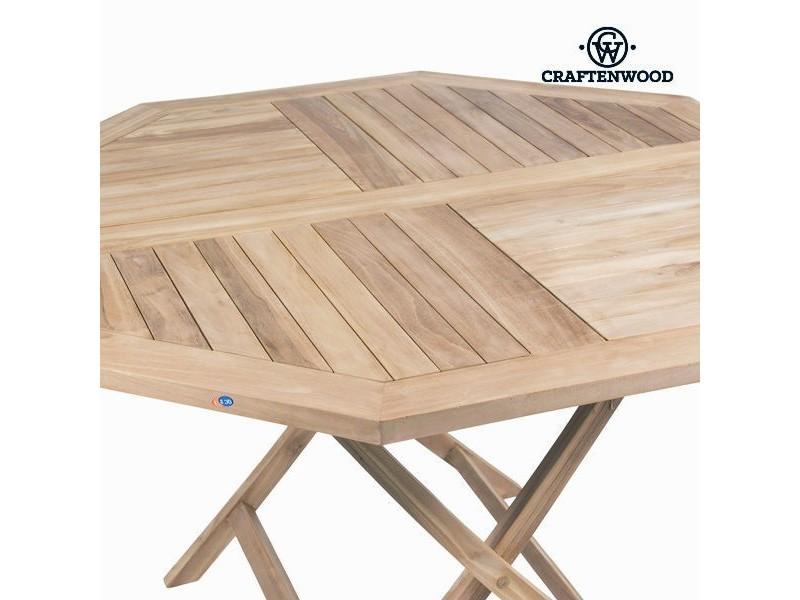 Table octogonale avec 4 chaises en bois de teck - salon de ...